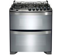 Fogão Brastemp 5 bocas duplo forno cor Inox com quadrichama e timer digital -