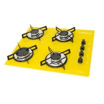 Fogão Cooktop Chamalux 4 bocas  Amarelo Gás Natural -