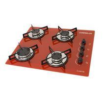 Fogao cooktop chamalux 4bocas vermelho (glp) -