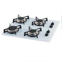 Fogao cooktop fischer de embutir 4 bocas mesa vidro branco -