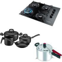 Fogão cooktop Gourmet ,panelas 4 pçs Panex Day By Day e Panela de pressão 4,5L Clock - Esmaltec/Panex/Clock