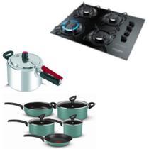 Fogão cooktop Gourmet, panelas 5 pçs Rochedo Creative e Panela de pressão 4,5L Clock - Esmaltec/Rochedo/Clock