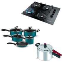 Fogão cooktop Gourmet, panelas 5 pçs Rochedo e Panela de pressão 4,5L Clock - Esmaltec/Rochedo/Clock