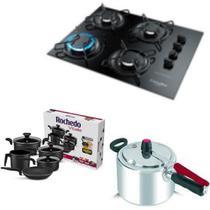 Fogão Cooktop Gourmet ,Panelas 5 pçs Rochedo New Vitalle e Panela de pressão 4,5L Clock - Esmaltec/Rochedo/Clock