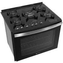 Fogão de embutir Atlas 5 bocas preto mesa de vidro - Top Gourmet Glass - Atlas Eletrodomésticos