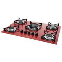 Fogão de mesa cooktop 5 bocas vidro vermelho à gás suggar fg5305vm -