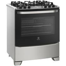 Fogão Electrolux 76GSS Prata 5 Bocas Bivolt com Mesa de Vidro e Porta Full Glass -