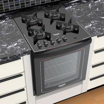 Fogão Embutir 4 bocas Dako Preto com mesa de vidro - Dako Glass com Acendimento Automático + Trempes em ferro fundido e forno 82,5L - Bivolt -