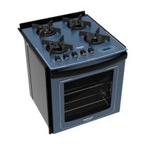 Fogão Embutir Dako Azul 4 bocas mesa de vidro - Dakolors com Acendimento superautomático + Trempes de ferro fundido e Display digital - Bivolt -