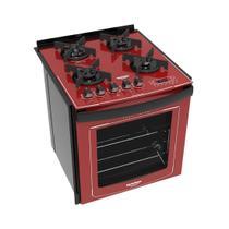 Fogão Embutir Dako Vermelho 4 bocas mesa de vidro Dakolors com Acendimento superautomático + Trempes de ferro fundido e Display digital - Bivolt -
