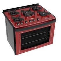 Fogão Embutir Dako Vermelho 5 bocas mesa de vidro Dakolors com Acendimento superautomático + Trempes de ferro fundido e Display digital - Bivolt -