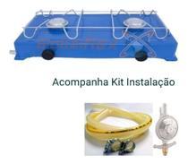 Fogao Fogareiro 2 Boca Camping Gas 1mt Gratis Kit Instalaçao - Roa