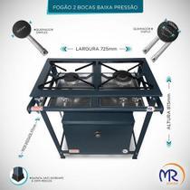 Fogão industrial 2 bocas com forno baixa pressão - Mr fogões