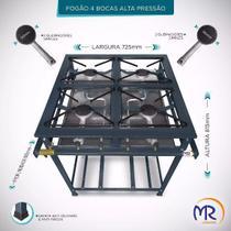 Fogão Industrial 4 Bocas Alta Pressão MAngueira e Registro MR Fogões -