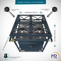Fogão industrial 4 bocas com forno alta pressão - Mr Fogões