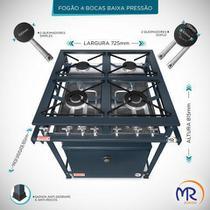 Fogão industrial 4 bocas com forno baixa pressão - Mr Fogões