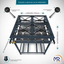 Fogão industrial 4 bocas sem forno alta pressão - Mr Fogões