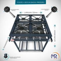 Fogão industrial 4 bocas sem forno  baixa pressao - Mr Fogões