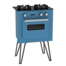 Fogão Portátil Venax Mini Cook 2 Bocas Com Forno A Gás GLP Azul -