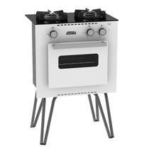 Fogão Portátil Venax Mini Cook 2 Bocas Com Forno A Gás GLP Branco -