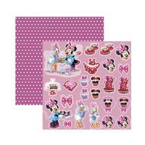 Folha para Scrapbook Dupla Face Disney - Minnie Hora do Chá 2 Recortes - Toke E Crie
