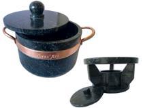 Fondue de pedra sabão 1,5 litros ideal para chocolate e queijo - Bras Art