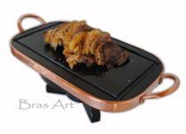Fondue retangular de pedra sabão com alça em cobre 33 centímetro por 19 centímetros - Bras Art