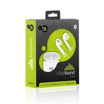 Fone Bluetooth TWS DL CitySound CS4 Stéreo, Totalmente  S/ Fio C/Case para recarga, Branco -