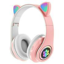 Fone Bluetooth V5.0 Orelha de Gato Rosa LED P33M.. - Gbd -