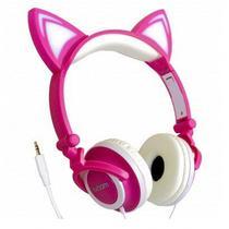 Fone com fio orelha de gato Headphone com Led - Rosa com Branco - Exbom