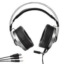 Fone com microfone gamer usb p2/p3 evus f-05 preto/prata colors -