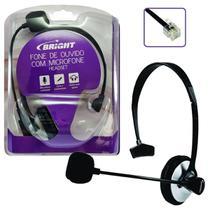 Fone com Microfone para Telefone Bright Office 0069 c/ RJ11 Preto 1,5m de Cabo -