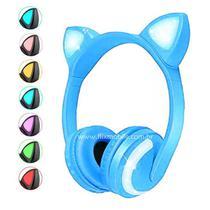 Fone de Gatinho com 7 Cores de LED Sem fio com Microfone Headset Orelha de Gato Azul - Xtrad