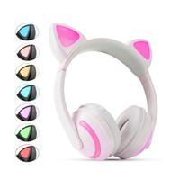 Fone de Gatinho com 7 Cores de LED Sem fio com Microfone Headset Orelha de Gato Branco - Xtrad