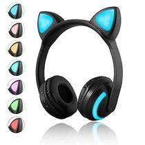 Fone de Gatinho com 7 Cores de LED Sem fio com Microfone Headset Orelha de Gato Preto - Xtrad