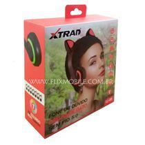 Fone de Gatinho com 7 Cores de LED Sem fio com Microfone Headset Orelha de Gato Vermelho - Xtrad