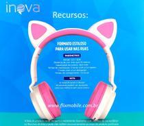 Fone de Gatinho LED 8 Cores Sem fio com Microfone Headset Orelha de Gato - Inova