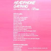 Fone de Gatinho LED 8 Cores Sem fio com Microfone Headset Orelha de Gato Preto - Exbom