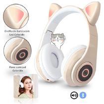 Fone De Ouvido Bluetooth Gatinho 5.0 Dobravel Amarelo - CONCISE FASHION STYLE