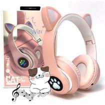 Fone De Ouvido Bluetooth Gatinho 5.0 Dobravel Rosa P33 - CONCISE FASHION STYLE