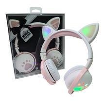 Fone De Ouvido Bluetooth Led Orelha Gato Infantil Headphone Branco - Psm