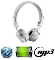 Fone De Ouvido Bluetooth Micro Sd Mp3 Rádio Fm Player - Branco - Boas