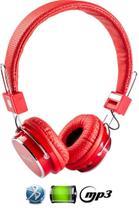 Fone De Ouvido Bluetooth Micro Sd Mp3 Rádio Fm Player - Vermelho - Boas