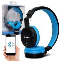 Fone de Ouvido Bluetooth Shutt Basic Sem Fio Entrada P2 SD Rádio FM MP3 Azul Claro Com Preto -
