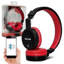 Fone de Ouvido Bluetooth Shutt Basic Sem Fio Entrada P2 SD Rádio FM MP3 Preto Com Vermelho -