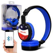 Fone de Ouvido Bluetooth Shutt EUA Sem Fio Entrada P2 SD Rádio FM MP3 Preto Com Azul Escuro -