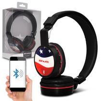 Fone de Ouvido Bluetooth Shutt EUA Sem Fio Entrada P2 SD Rádio FM MP3 Preto Com Vermelho -