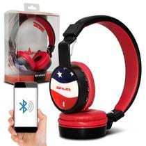 Fone de Ouvido Bluetooth Shutt EUA Sem Fio Entrada P2 SD Rádio FM MP3 Vermelho Com Preto -