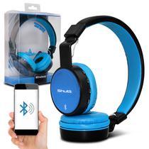 Fone de Ouvido Bluetooth Shutt Full Sem Fio Entrada P2 SD Rádio FM MP3 Azul Claro Com Preto -