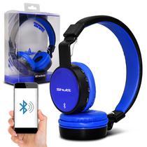 Fone de Ouvido Bluetooth Shutt Full Sem Fio Entrada P2 SD Rádio FM MP3 Preto Com Azul Escuro -